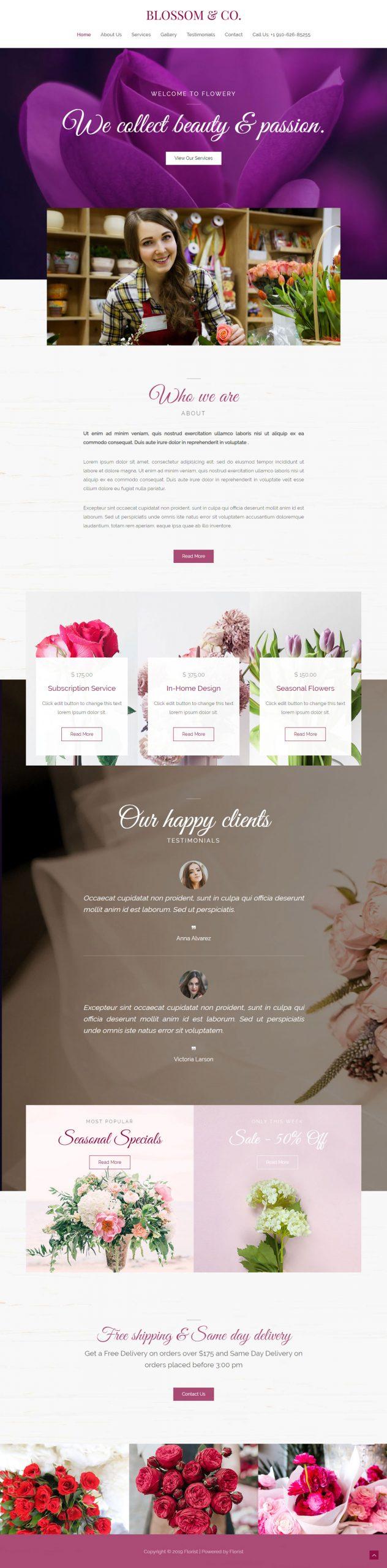 bloemen winkel website voorbeeld