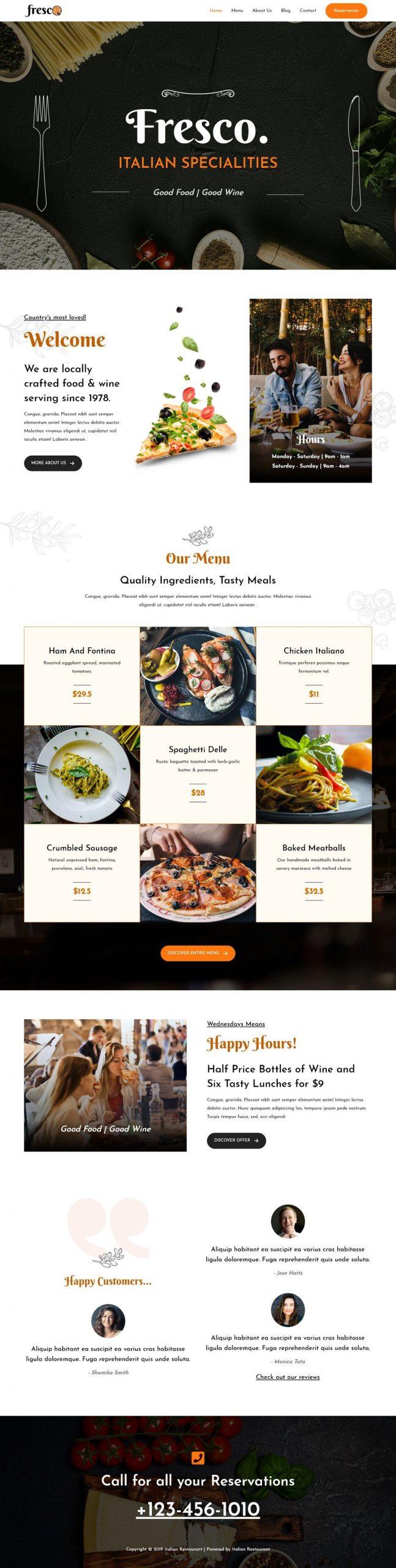 italiaans restaurant website