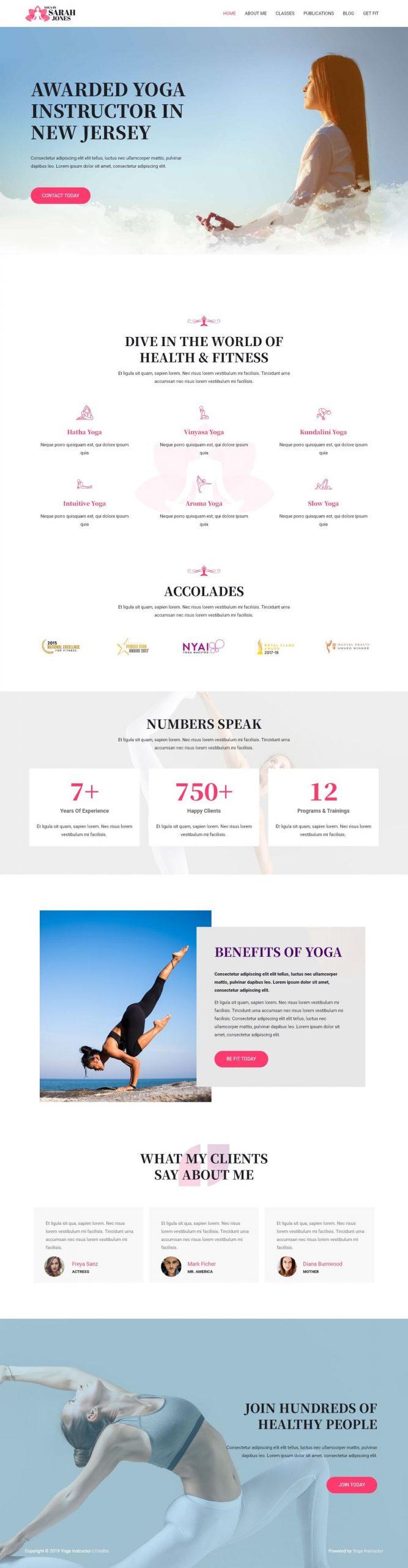 yoga instructeur website