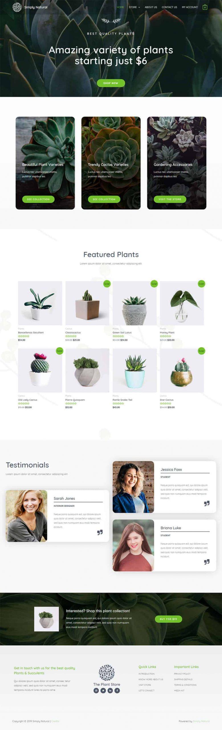 planten webshop voorbeeld