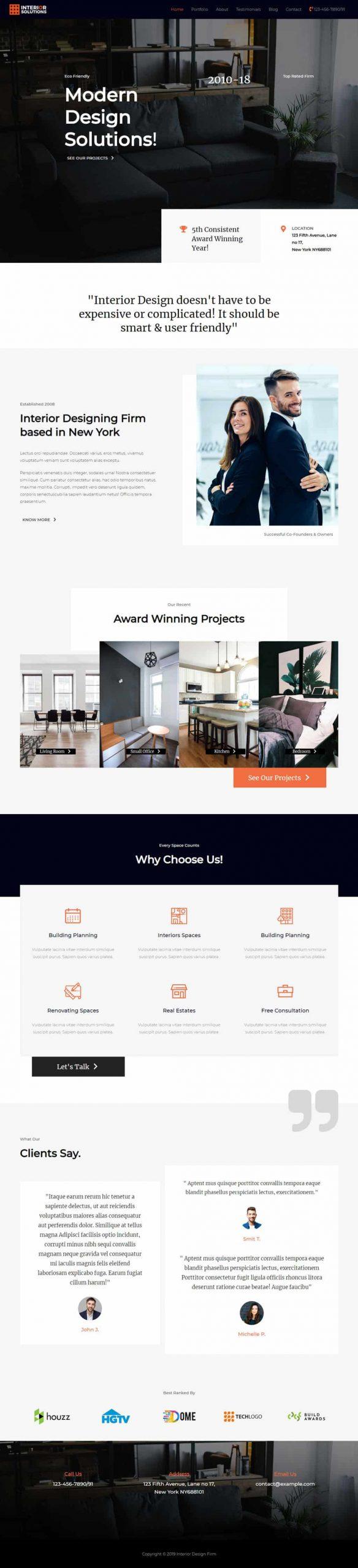 interieur designer website voorbeeld