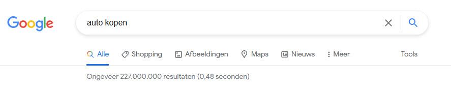 aantal google zoekresultaten voor een zoekwoord