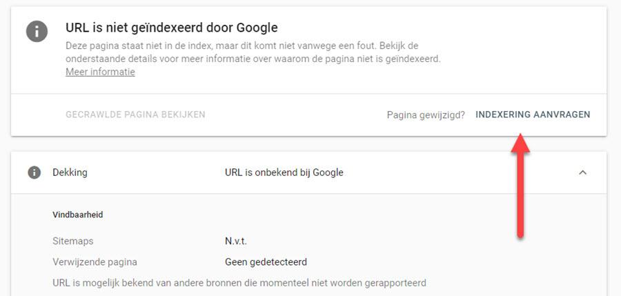 indexering aanvragen bij Google