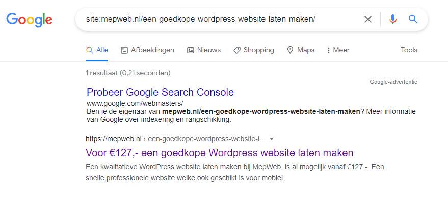 pagina staat wel in google