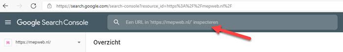 url laten inspecteren door google search conslole