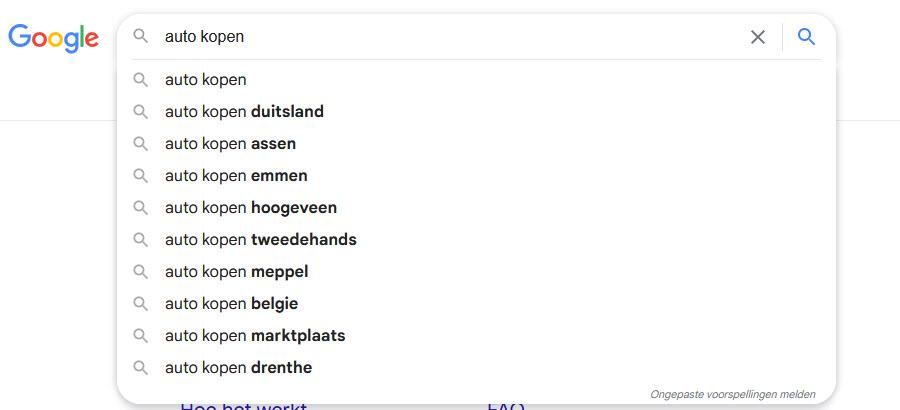 zoekwoord sugesties google